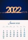 Calendário mensal com ano, mês e foto personalizável