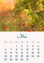 Calendar May 2018 printable in A4 format
