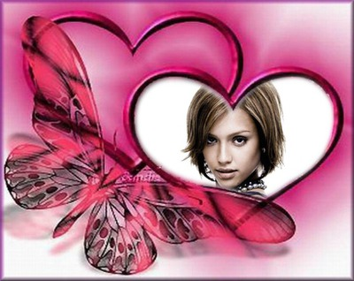 Coeur rose Papillon ♥