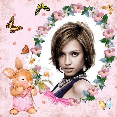 Lapin Papillons Fleurs