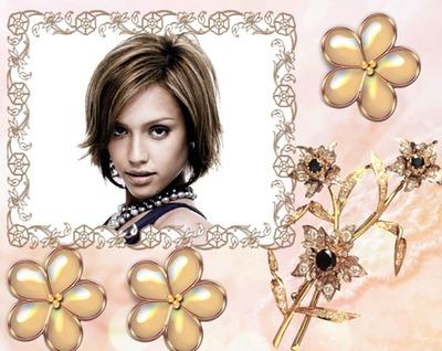 Kwiaty Jewel broszka frame