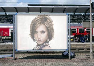 Railway station platform Billboard Scene