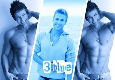 3 синих