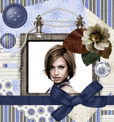 Noeud en satin bleu Boutons Fleurs
