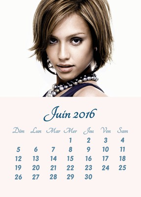 Calendario junio 2016 foto personalizable