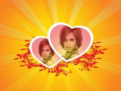 2 širdys oranžiniame / geltoname fone