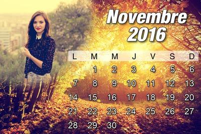 Calendrier Novembre 2016