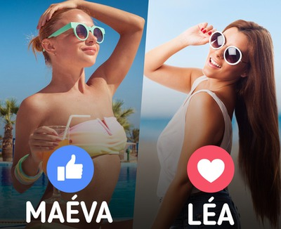 Facebook survey Like or Love 2 pictures with texts