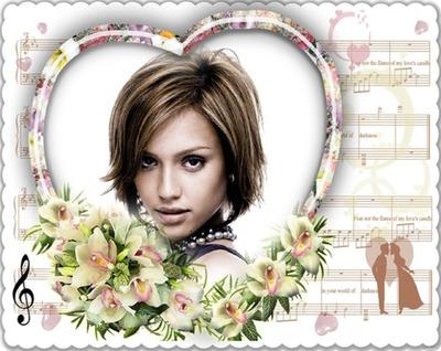 Moldura coração Flores Partições musicais ♥