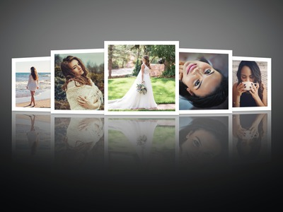 反射を伴う5枚の写真