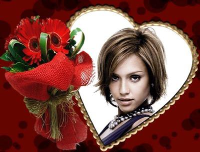 赤い花とハート♥の花束