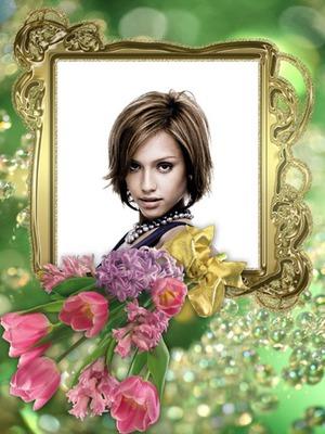 Cadre doré Bouquet de fleurs