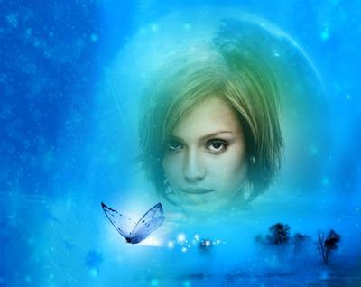 Paysage Papillon bleu