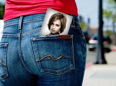 Φωτογραφική σκηνή στην τσέπη Γλουτών Γυναίκα