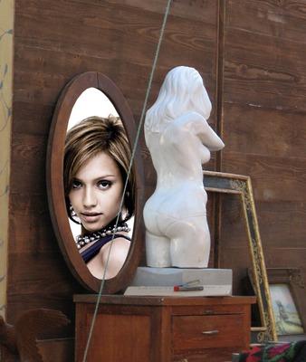 Spegel staty scen