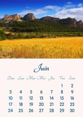 2018年6月のカレンダーをA4形式で印刷可能