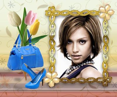 Käsilaukku ja sähköinen siniset kengät Tulppaanit