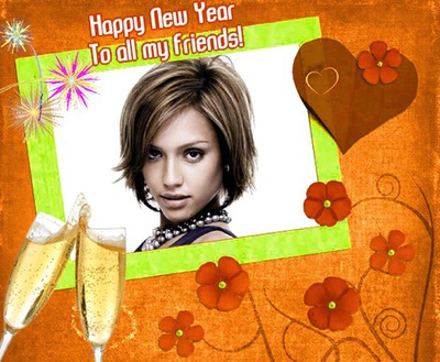 Happy New Year Feliz año nuevo Champán