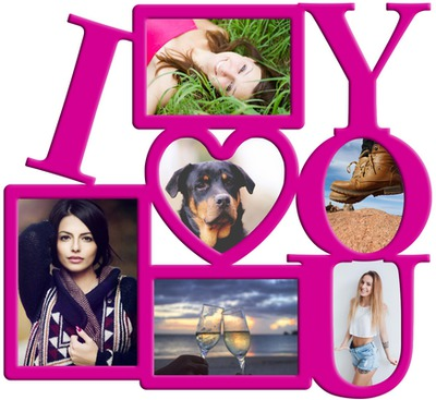 Photo montage LOVE frame with 6 pictures - Pixiz