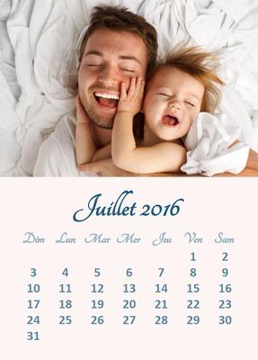 Calendario de julio de 2016 con foto personalizable