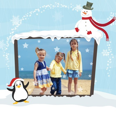 Christmas children Auk Snowman