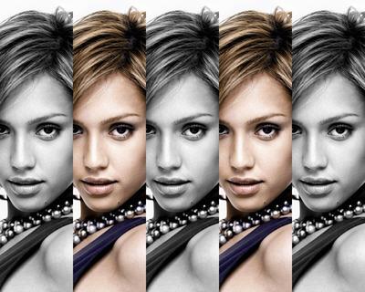 5 alternerande svartvita färgfoton