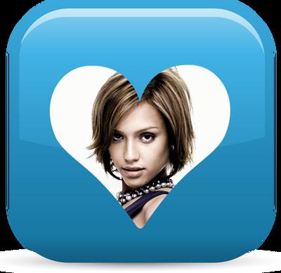 Serce ♥ Przezroczysty niebieski przycisk