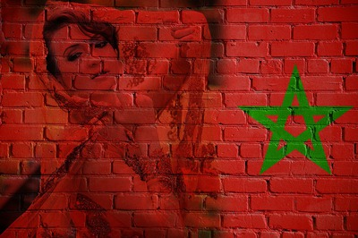 Flag ng Morocco sa brick wall