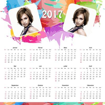 カスタマイズ可能な写真2枚付きの2017年カレンダー