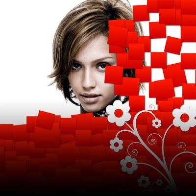 Κόκκινα τετράγωνα λουλούδια