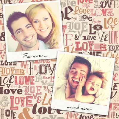2 polaroidy na tle vintage miłości