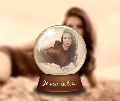 Sepia crystal ball with blurred background