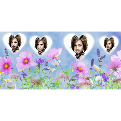 Paysage de fleurs avec 4 photos