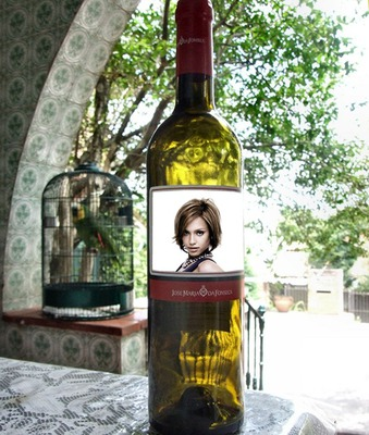 Scène Étiquette bouteille de vin