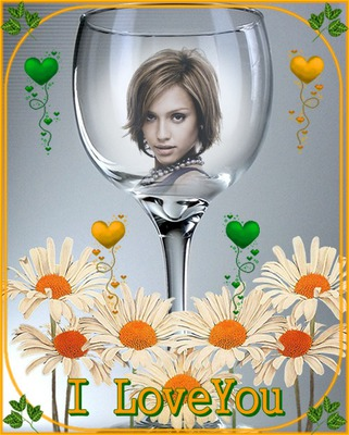 Reflet verre Fleurs I love you