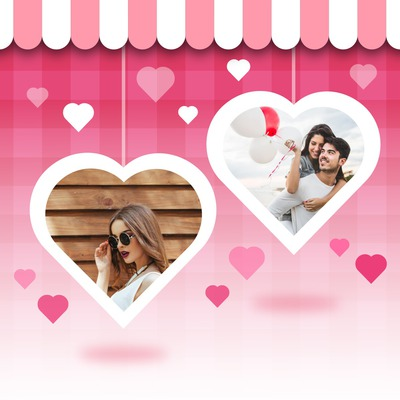 2 hearts with personal pictures