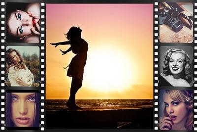 Elokuva filminauha 7 valokuvaa