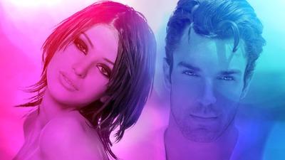 Inlay dalam gelembung merah muda dan biru untuk pasangan