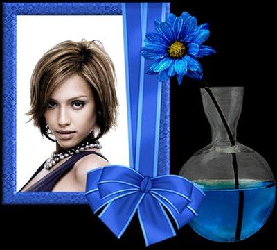 Голубая цветочная лента