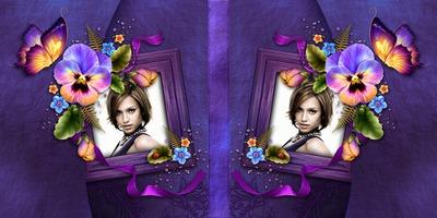 Couverture de livre violette avec fleurs #2