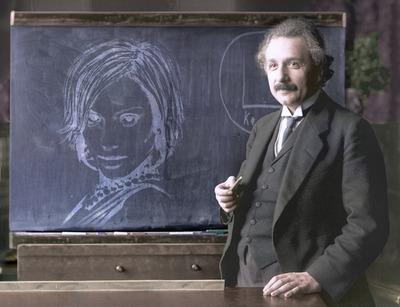 Tekening op tafel met Albert Einstein