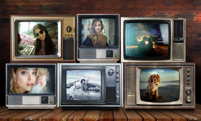 6 pictures in old televisions