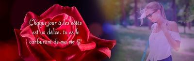 Kvet červenej ruže s textom a fotografiou