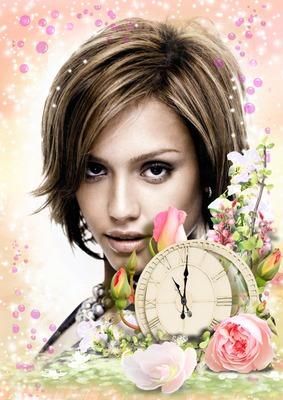 Roses Clock Flowers