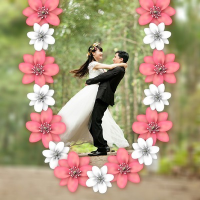 Couronne de fleurs sur fond flou