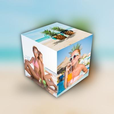 Cubo 3D com 3 fotos no fundo desfocado