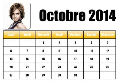 Calendario ottobre 2014 in francese