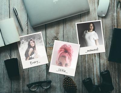 3 polaroida na vintage stolu