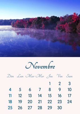 Listopad 2018 kalendarz do druku w formacie A4