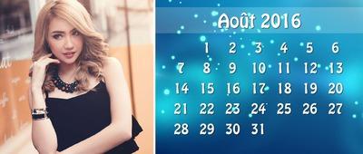 Stilizuotas 2016 m. Rugpjūčio kalendorius su pritaikoma nuotrauka